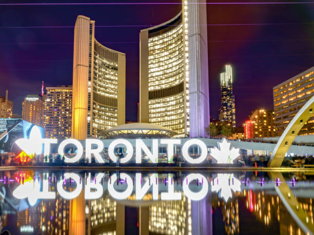 Toronto sign in City Hall and Nathan Phillips Square, Ontario, Canada stock photo
