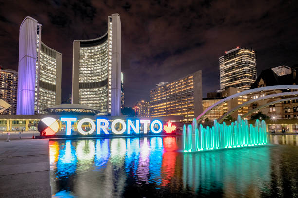 Toronto Sign in Nathan Phillips Square stock photo