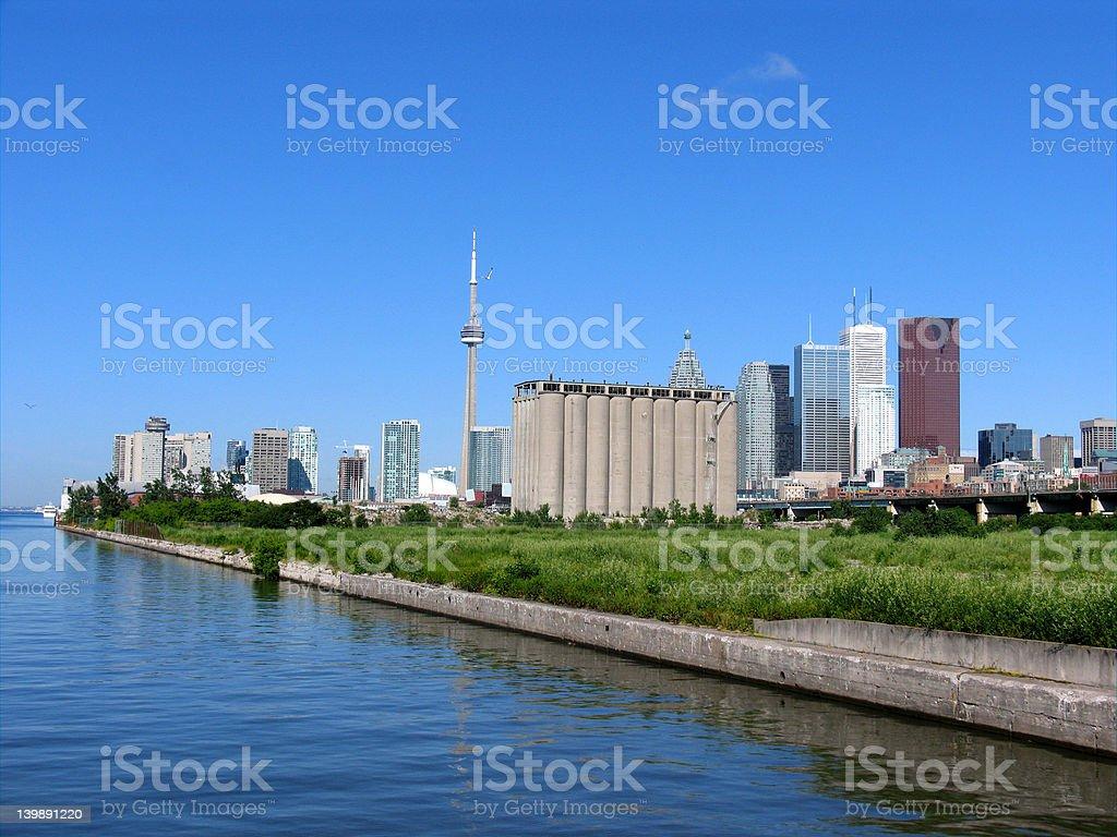 Toronto skyline and industrial area stock photo