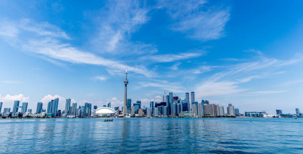 Toronto skyline as seen from the harbor.