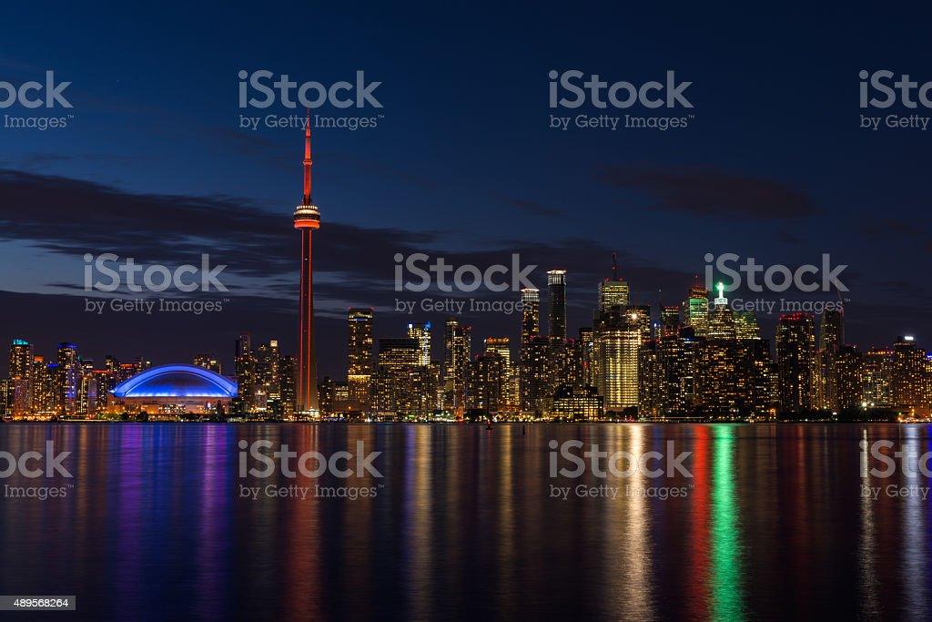 Toronto skyline at night stock photo