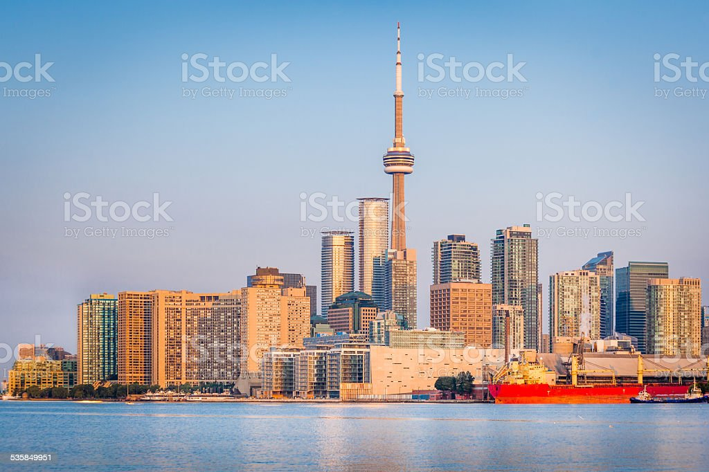 Toronto Skyline at sunrise stock photo