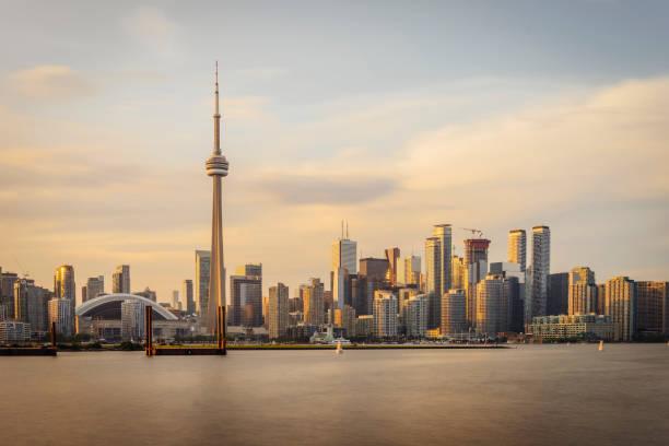 Toronto skyline at sunset from Toronto Islands stock photo