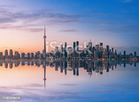 Toronto Skyline at sunset with reflection - Toronto, Ontario, Canada