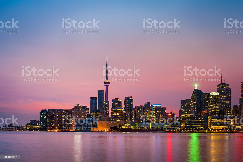 Toronto Skyline at twilight stock photo