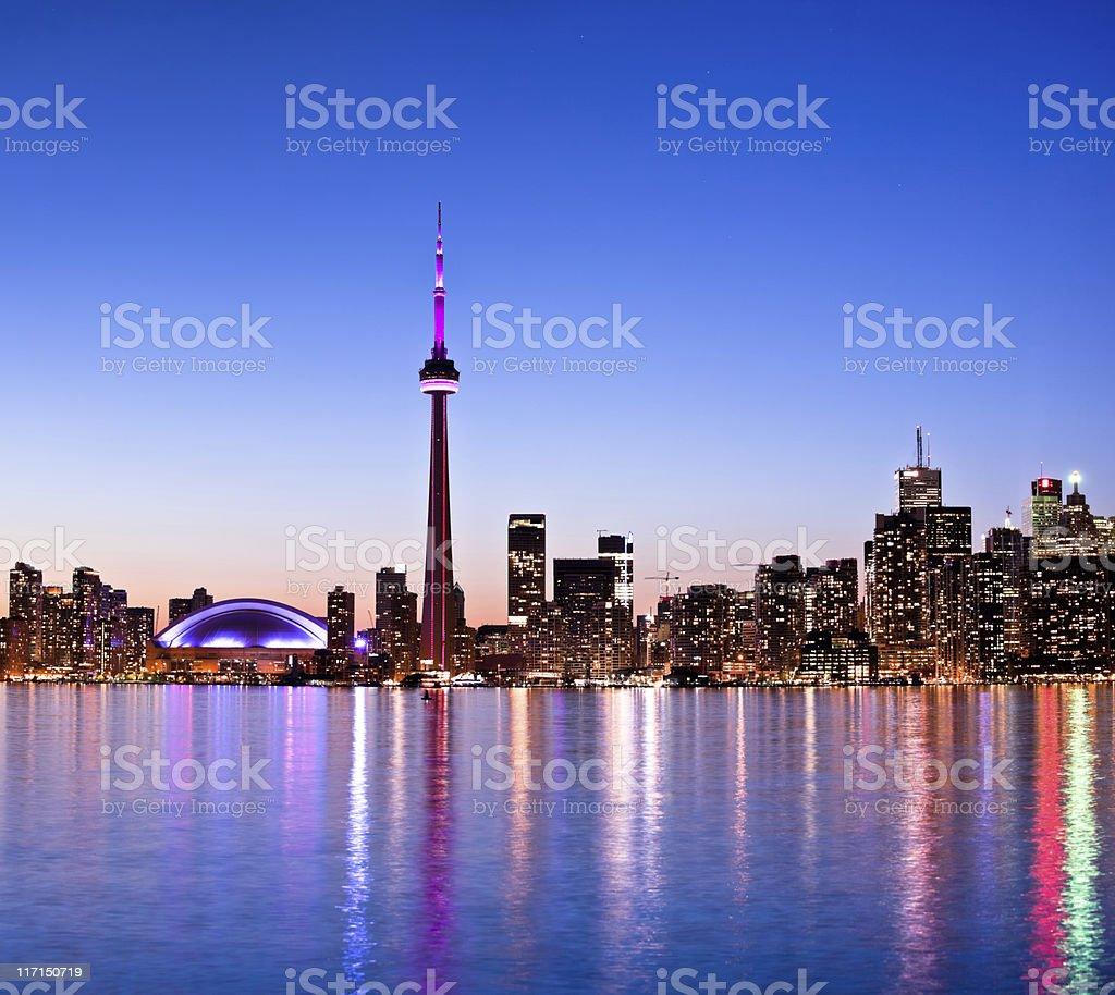Toronto skyline by night stock photo