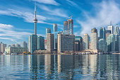 Toronto skyline with CN Tower over Ontario lake. Canada.