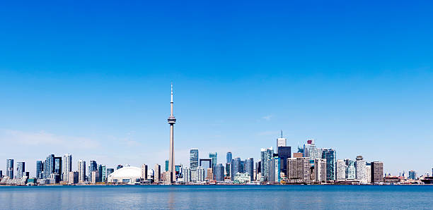 Toronto skyline in the distance in a clear day stock photo