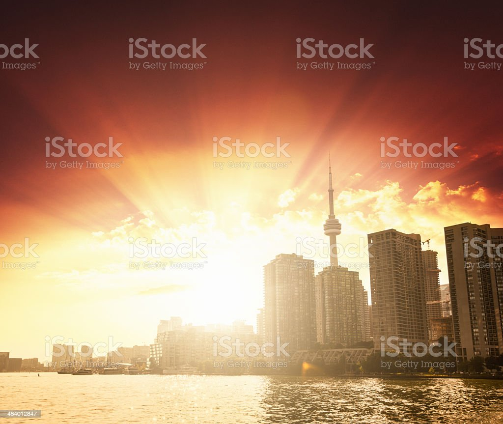 Toronto skyline waterfront royalty-free stock photo