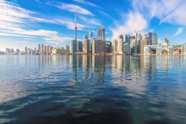 Toronto skyline with CN Tower over Ontario lake. Canada. stock photo
