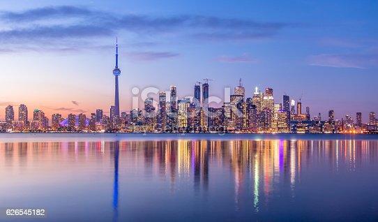 istock Toronto Skyline with purple light - Toronto, Ontario, Canada 626545182