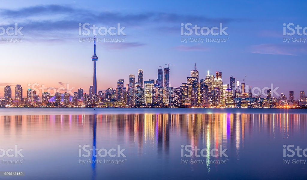Toronto Skyline with purple light - Toronto, Ontario, Canada stock photo