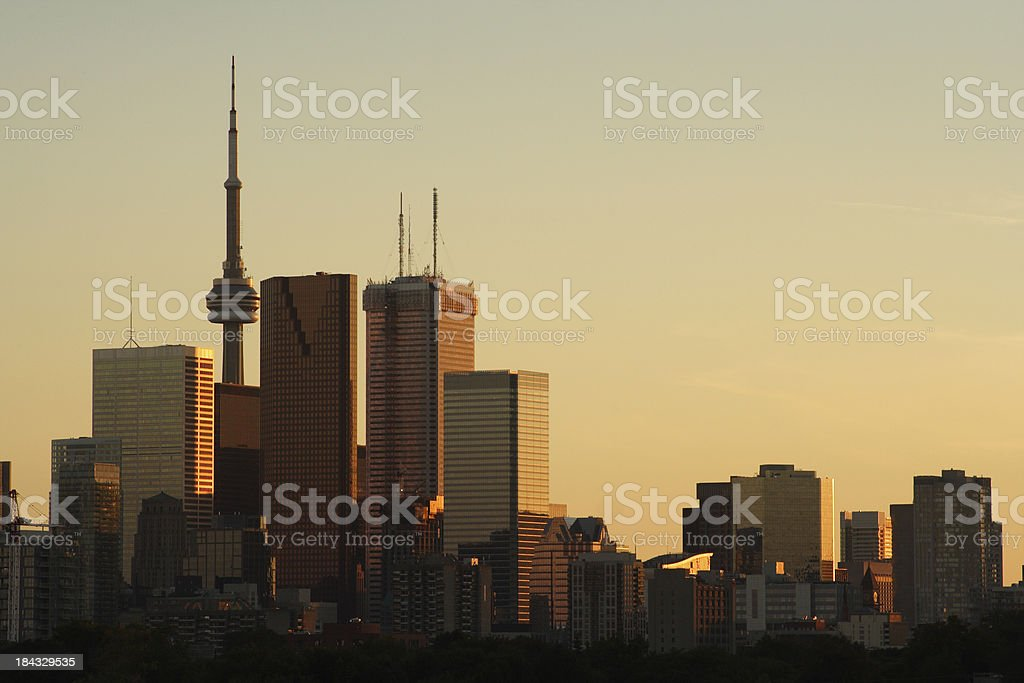 Toronto skyscrapers & skyline at sunset royalty-free stock photo