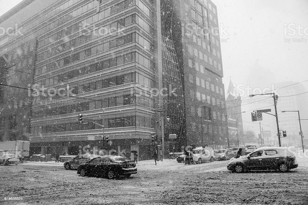 toronto snowstorm toronto snowstorm in january black and white Accidents and Disasters Stock Photo