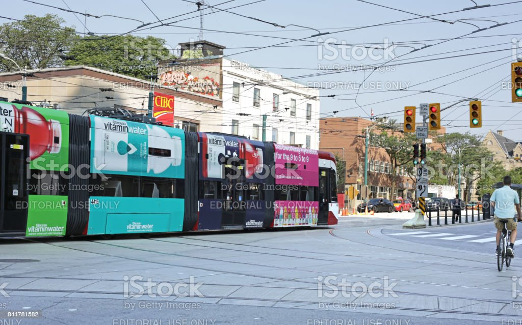 Toronto Streetcar on Spadina Avenue at College Street stock photo