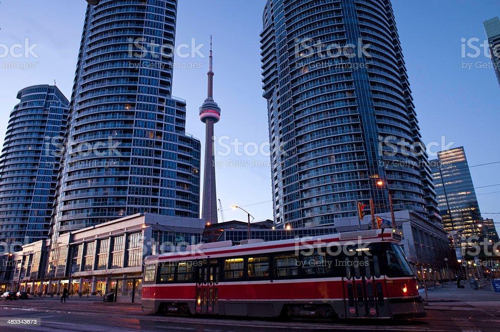 Toronto streets at night stock photo