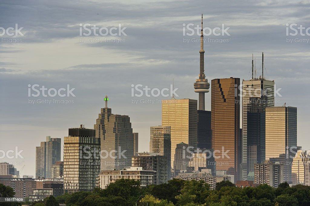 Toronto sunrise downtown skyscrapers CN Tower Canada royalty-free stock photo