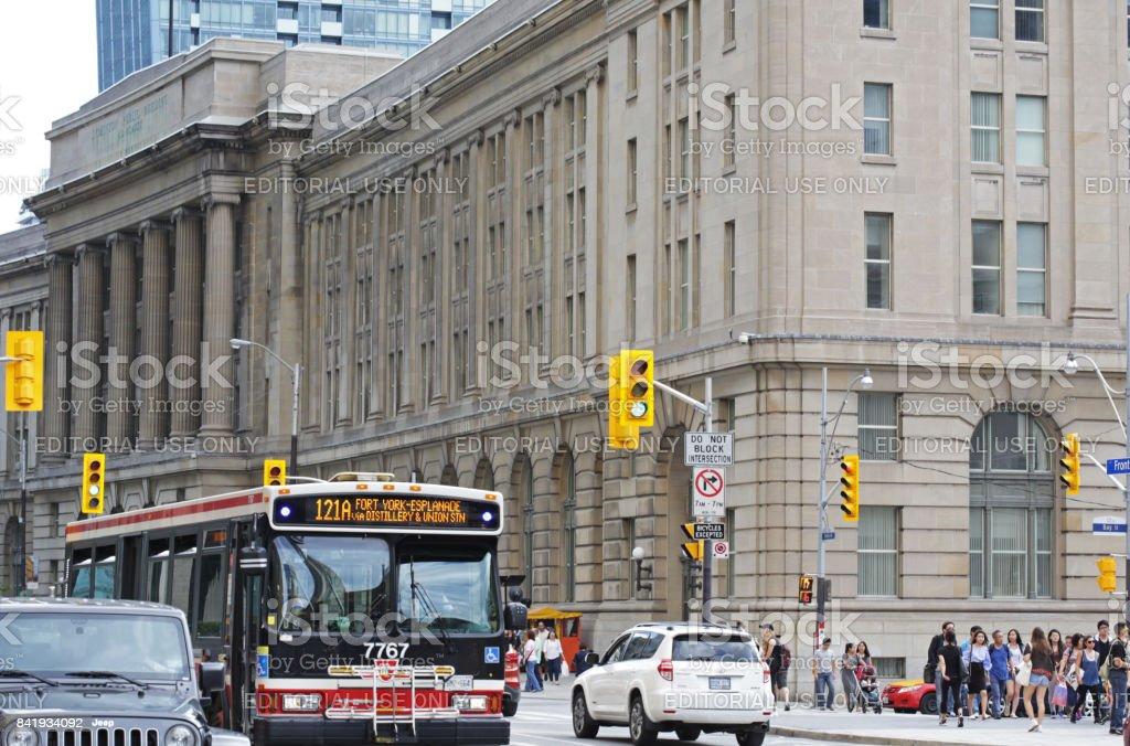 Toronto Transit Bus on Front Street, South Core Neighbourhood stock photo