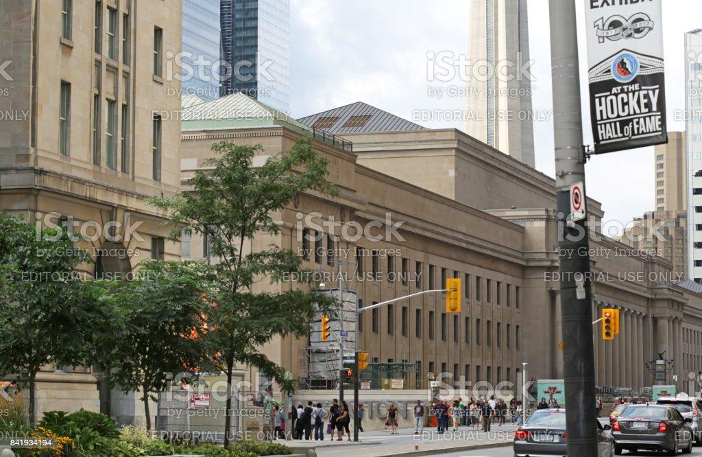Toronto Union Staton and Front Street Traffic in Summer stock photo