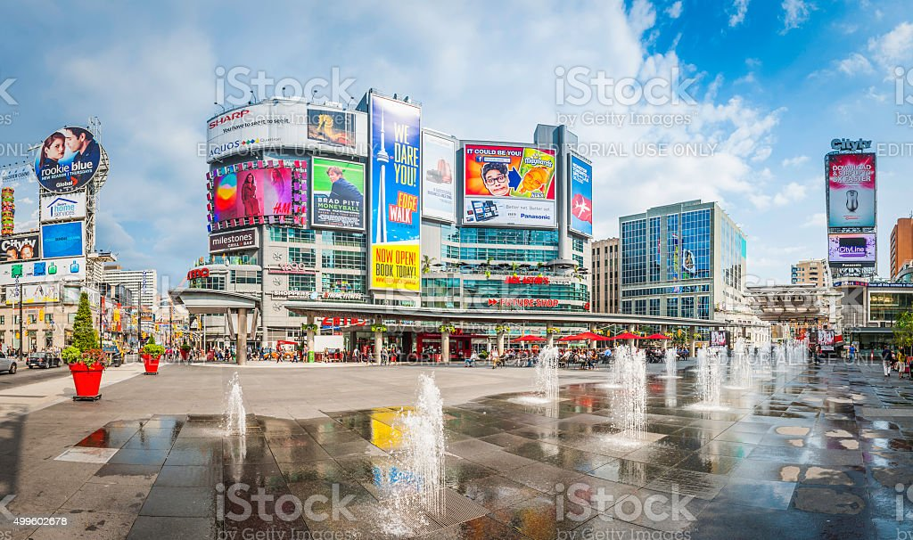 Toronto Yonge Dundas Square downtown fountains and colorful billboards Canada stock photo