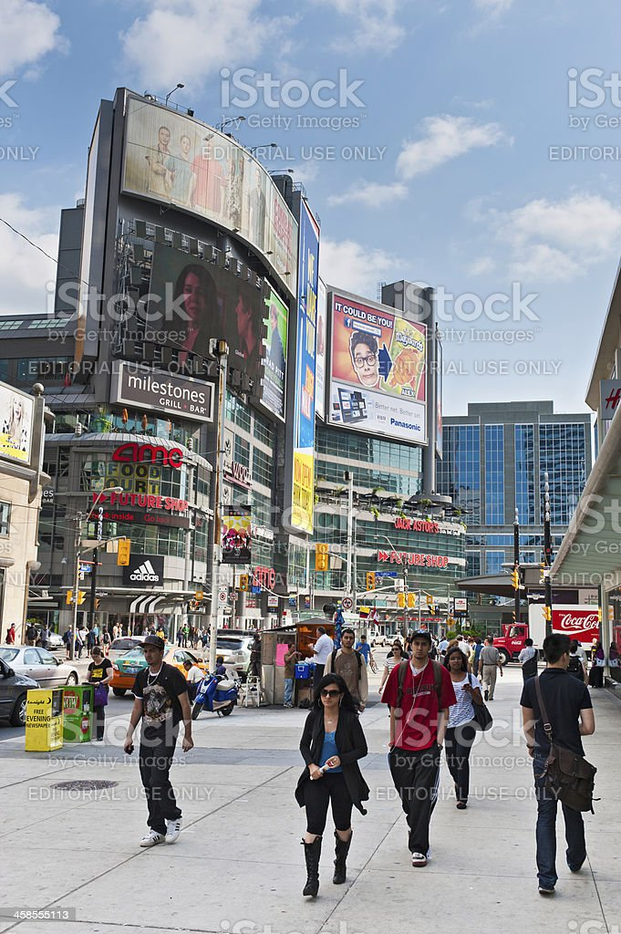 Toronto Yonge Dundas Square people billboards Canada royalty-free stock photo