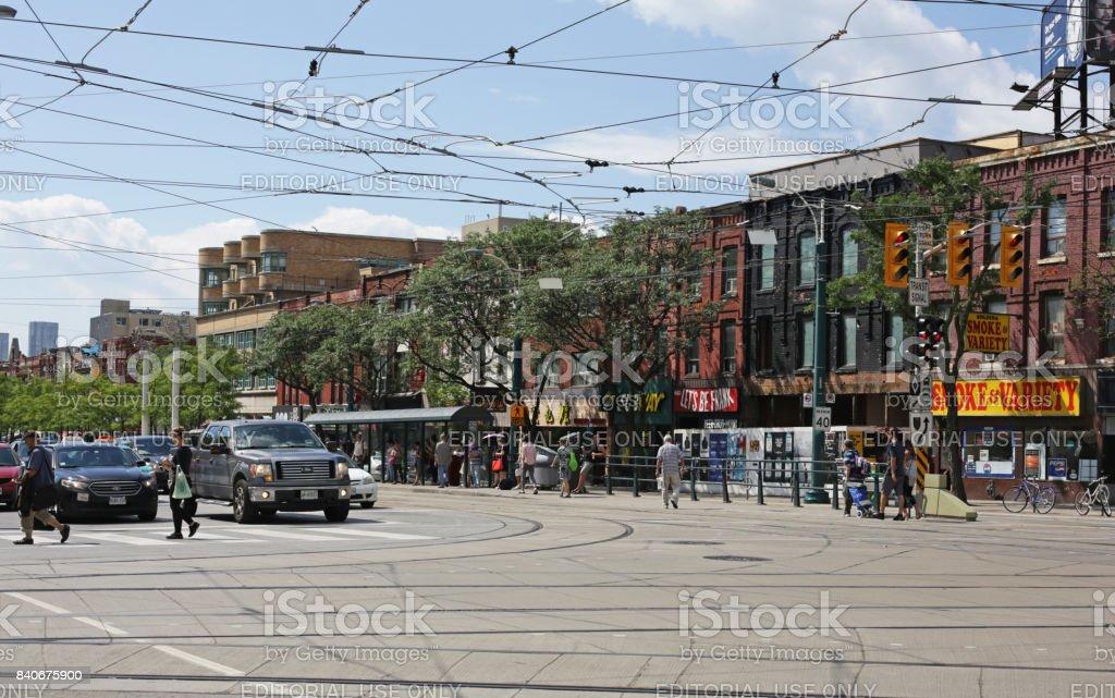 Toronto's 400-block Spadina Avenue at College Street in Summer stock photo