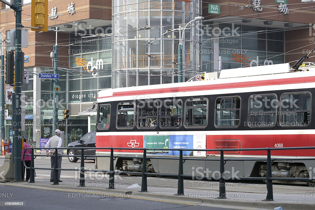Toronto's Chinatown and Streetcar on Spadina Avenue in Summer stock photo