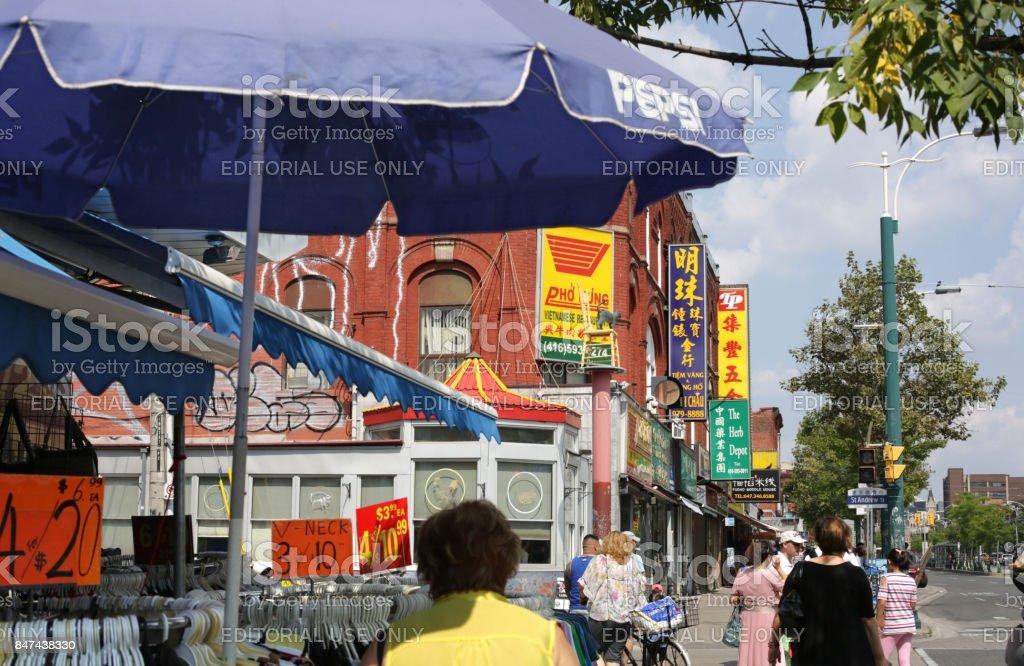 Toronto's Chinatown, Kensington Neighbourhood in Summer stock photo