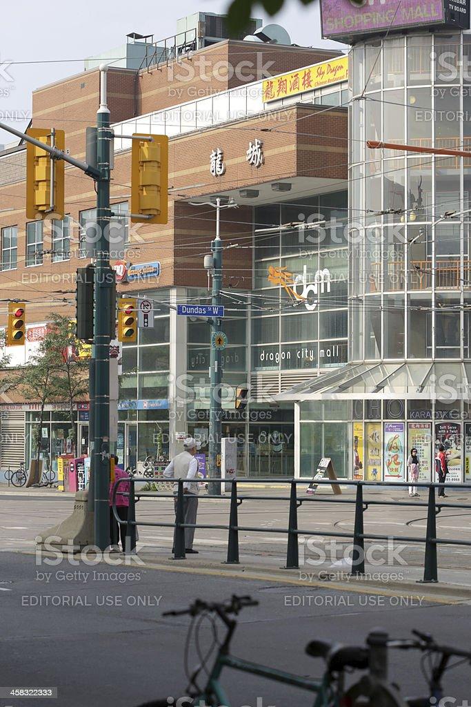 Toronto's Chinatown, Spadina at Dundas Street West in Summer stock photo