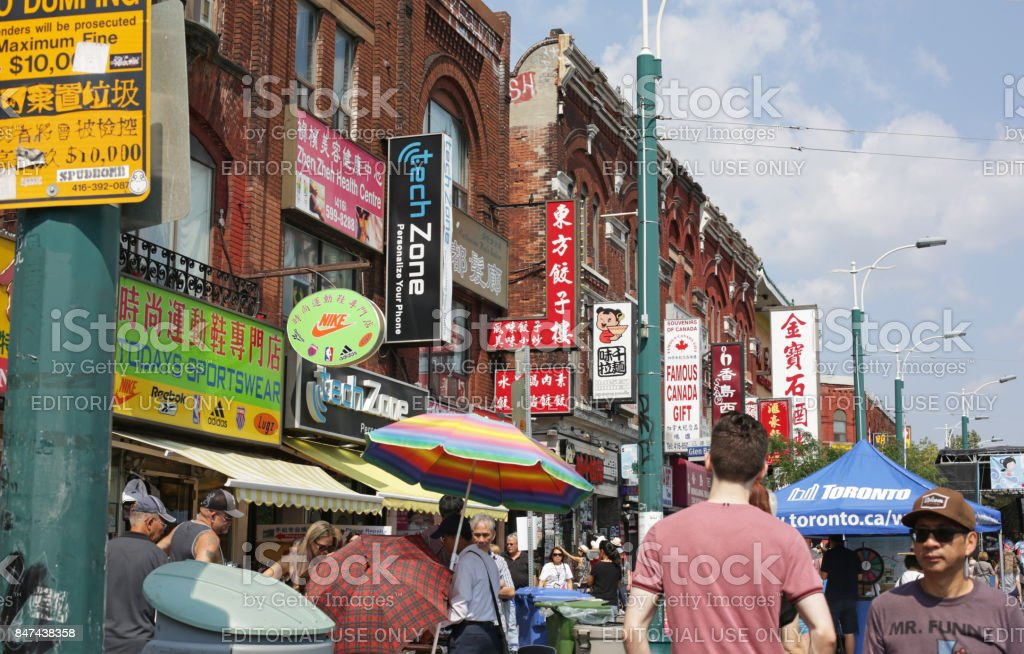 Toronto's Chinatown, Spadina Avenue in Summer stock photo