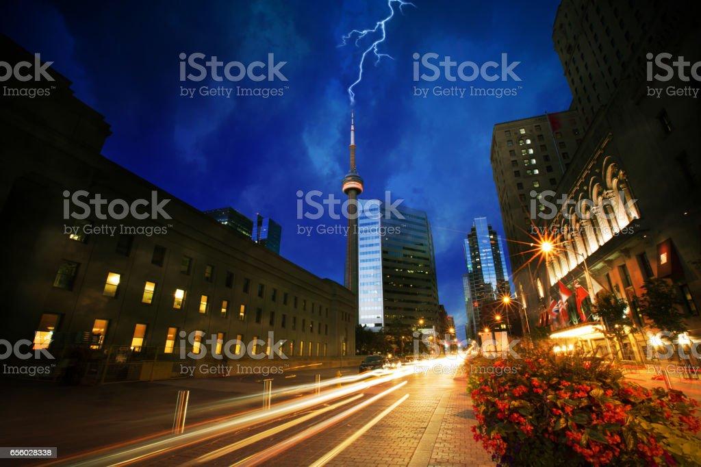Toronto's CN Tower Struck by Lightning stock photo