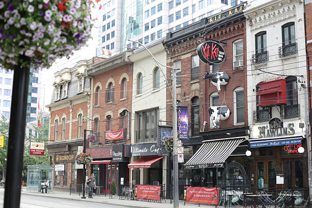 Toronto's King Street West in the Entertainment District, Summer Morning stock photo