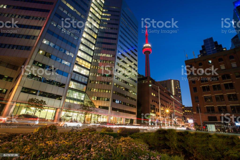 Toronto's Skyline at Night - Long Exposure stock photo