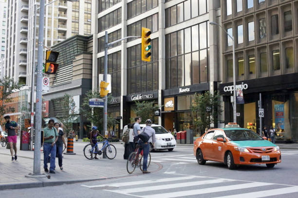 Toronto's Yorkville Neighbourhood, Bay and Bloor Street Intersection in Summer stock photo