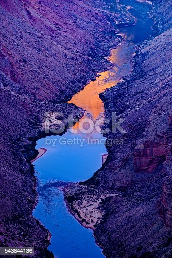 Incredible landscape vista from scenic Toroweap Overlook on North Rim of Grand Canyon.  Commanding view of canyons below where the mighty Colorado River flows.  Landscape scenic Grand Canyon USA.