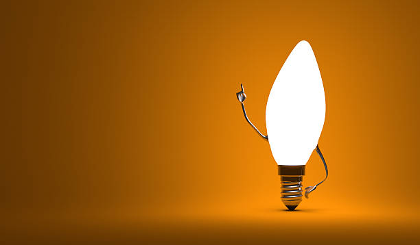 Torpedo light bulb character in aha moment Glowing torpedo light bulb character in aha moment on orange background aha stock pictures, royalty-free photos & images