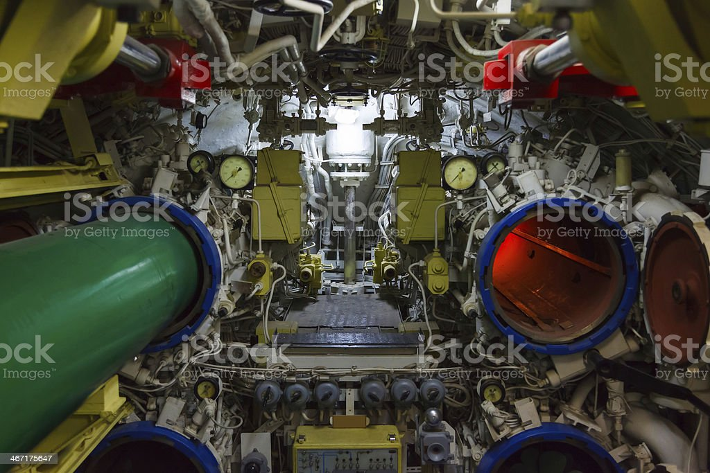 torpedo room and torpedoes stock photo
