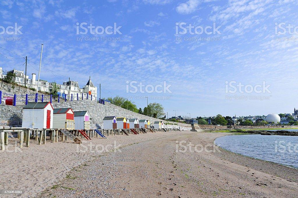 Torquay and beach huts, Devon, UK stock photo