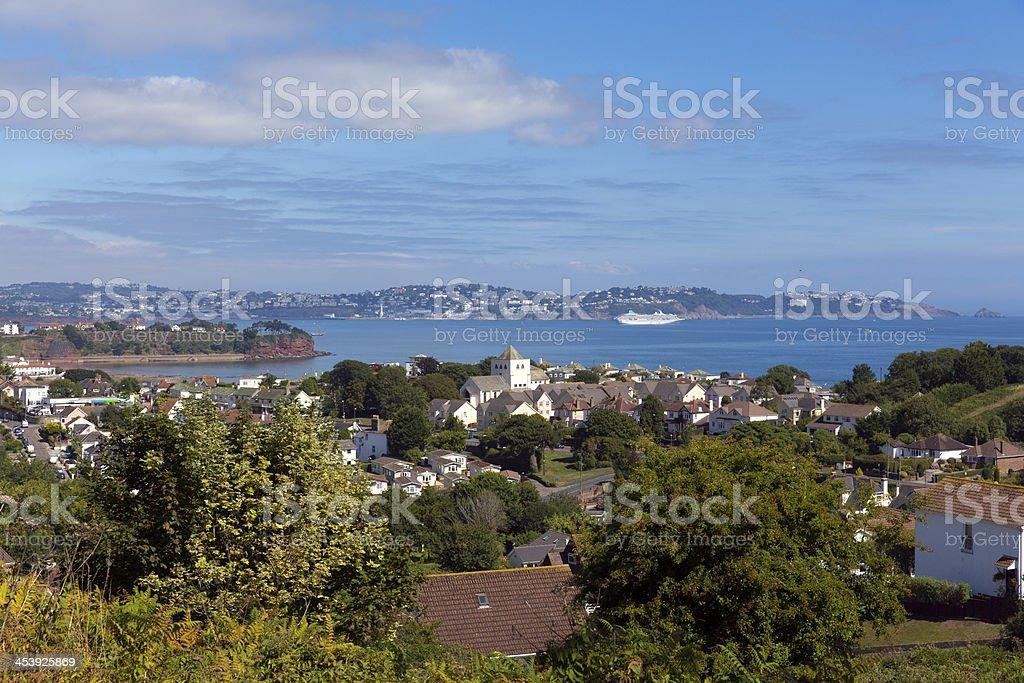 Torquay coast and bay Devon England from Paignton stock photo