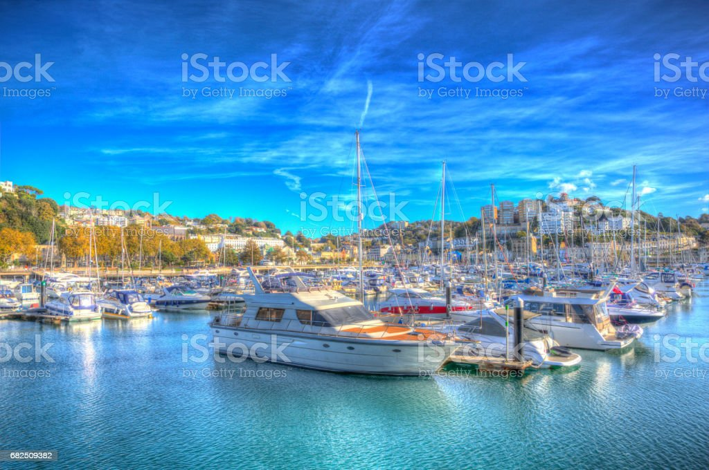 Torquay Devon UK harbour with boats and yachts on the English Riviera in colourful HDR royalty-free stock photo