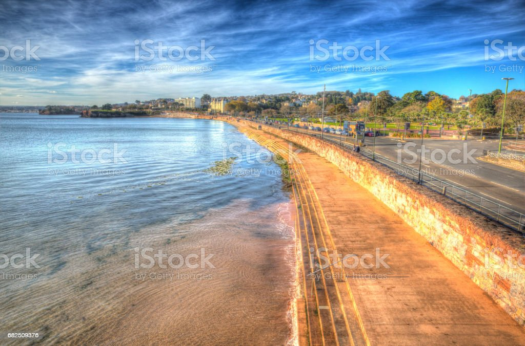 Torquay Devon UK promenade on the English Riviera in colourful HDR royalty-free stock photo