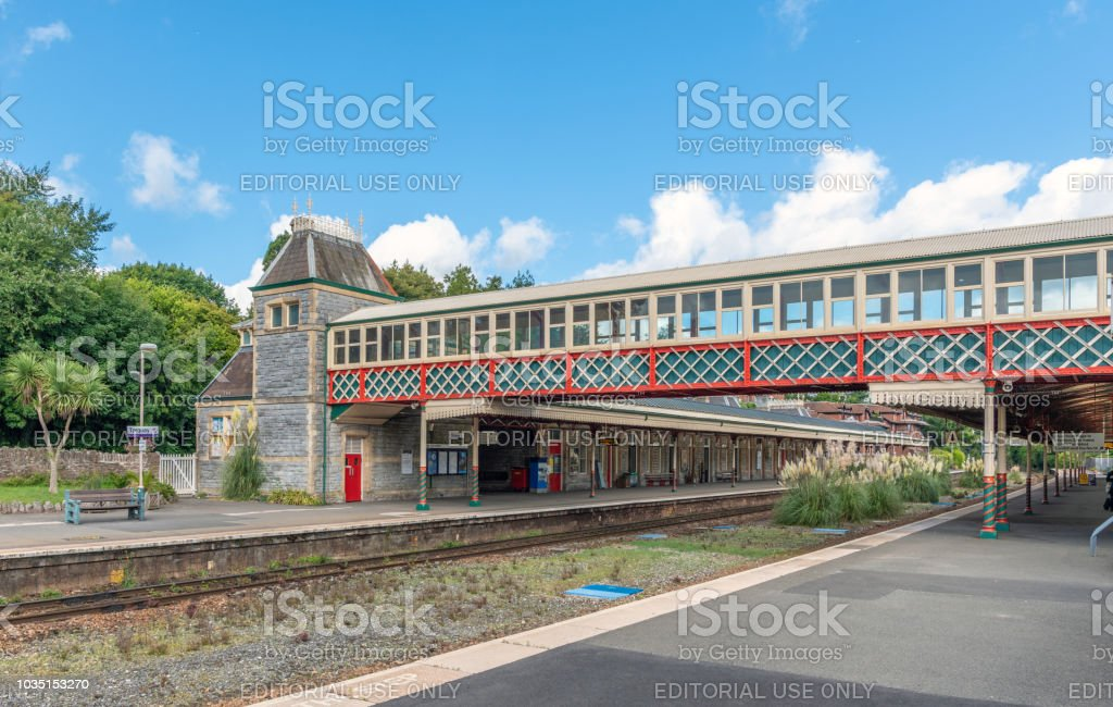Torquay train station passenger foot bridge stock photo