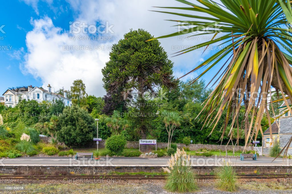 Torquay train station platform stock photo