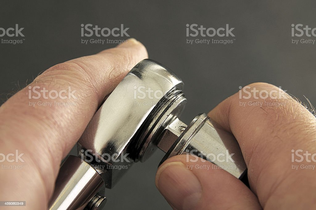 Torque Wrench having Socket Fitted stock photo