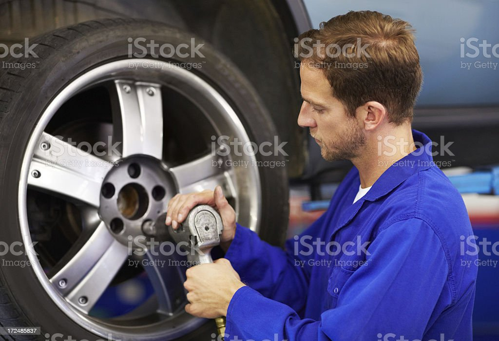 Torquing the lug nuts stock photo