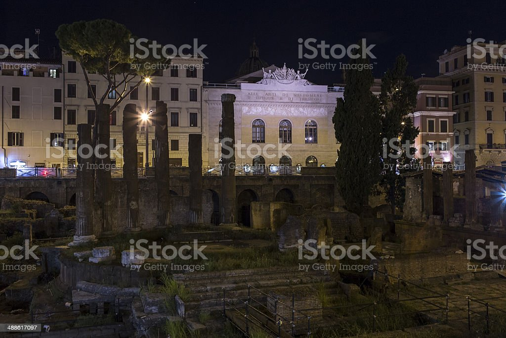 Torre Argentina Square by night, Rome royalty-free stock photo