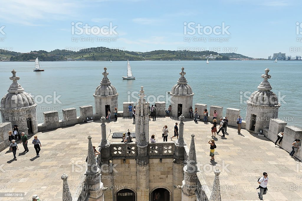 Torre de Belem and Tagus River stock photo