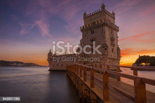 Colorful sunset at torre de Belém, Portugal