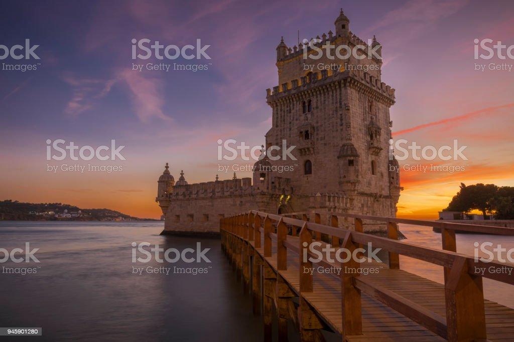 Torre de Belem during sunset in Lisbon, Portugal stock photo