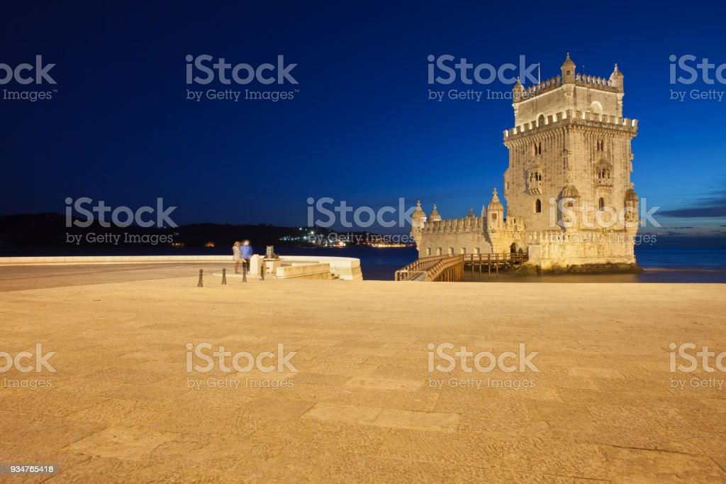 Torre de Belem in Lisbon at Night stock photo